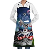 NAN TIAO America Cat Einstellbare Latzschürze für die Küche BBQ Cooking Women Men Chef mit...