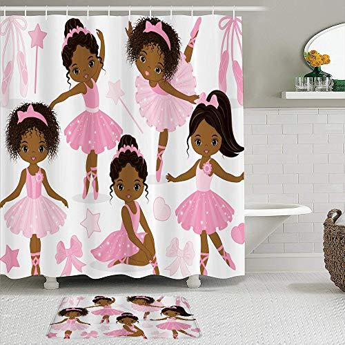 TARTINY 2-teiliges Duschvorhang-Set mit rutschfesten Teppichen,Rosa Ballett Nettes Mädchen Ballerina Tänzerin Rock Gymnastic Kid mit 12 Haken,rutschfeste Badematte, wasserdichter Duschvorhang