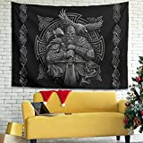 Hhacbudorrg Wall Tapestry Viking Odin Helmet Raven Axes Knot Print Wall Blanket Room Divider White 79x59 inch