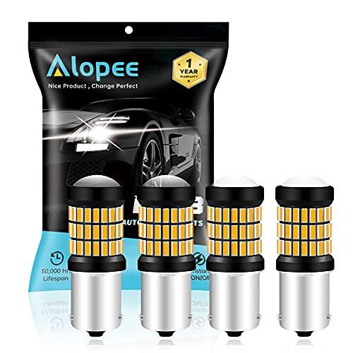 AMAZENAR Paquet de 4 Lampes Orange/Jaune Super Brillant 1056 BAU15S 7507 12496 5009 PY21W Lampe à LED 9-18V-DC, AK-4014 60 SMD Ampoules de Rechange pour Clignotants Clignotants Latéraux