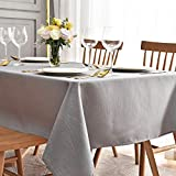 maxmill Jacquard Table Cloth Swirl Pattern Spillproof Wrinkle Resistant Oil Proof Heavy Weight Soft Tablecloth for Kitchen Dinning Tabletop Decoration Outdoor Picnic Rectangle 52 x 70 Inch Light Grey