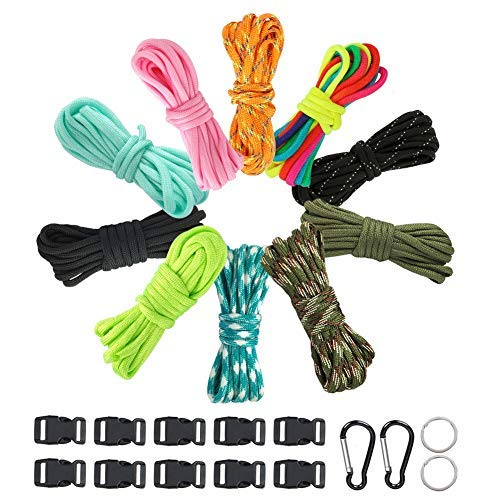DRGY 550 Paracord Set of 10 Paracord Bracelets Kit - 10 Paracord Ropes + 10 Paracord Buckles + 2 Small Carabiners + 2 Paracord Keychains Paracord Survival Rope for Sports Outdoor Adventures