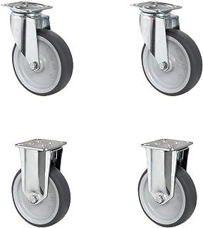 CASCOO SETSAFA125P2T2P0N wielenset 2 zwenkwielen, 2 bokwielen, polypropyleen, thermoplastisch elastomeer, diameter 125 mm,...