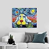 GJQFJBS Arte Abstracto de la Pared Impresión en Lienzo Imagen Animal Perro y Noche Estrellada Sala de Estar Decoración del hogar A5 70X100cm