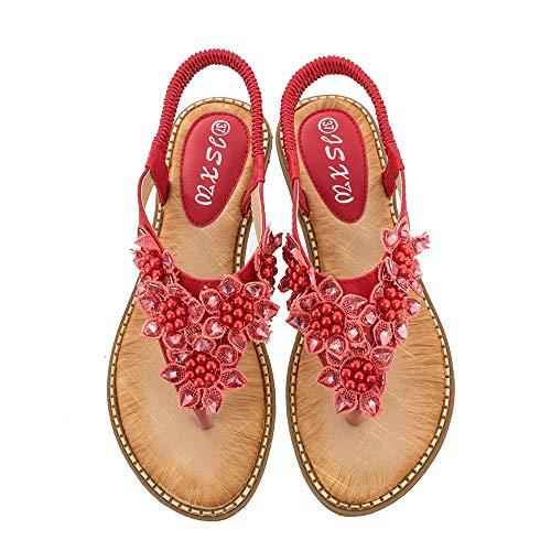LXYYBFBD sandalen voor dames, rode zomer Boheemse handgemaakte bloem rond hoofd toe sandalen dames mode wilde trend sandalen vrouwen