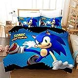 Juego de ropa de cama para niños Sonic Anime – Funda nórdica y funda de almohada, microfibra, impresión digital 3D de tres piezas., 2, 140 x 200 cm