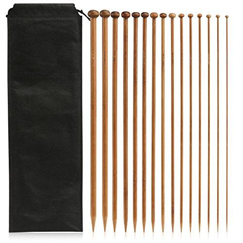 LIHAO Ferri da Maglia Punto Singolo bambù Kit (15 Misure da 2.0mm a 10.0mm, Lunghezza 35cm)