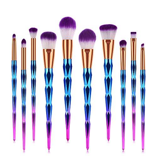 Jeu De Pinceau De Maquillage, Maquillage Coloré Kit De Maquillage Professionnel 10 Pièces De Maquillage Lumineux Mis En Suite D'outils De Base De Maquillage De Mixage Professionnelle
