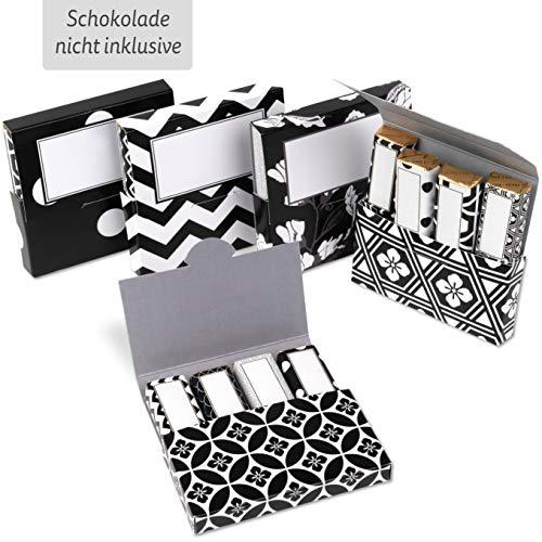 Netti Li Jae ® Aufkleber Set inkl. Mini Schachteln für Merci Schokolade – für 5 personalisierte Geschenke – persönliche Geschenkidee – Dankeschön Geschenke (Schwarz-Weiß Designs)
