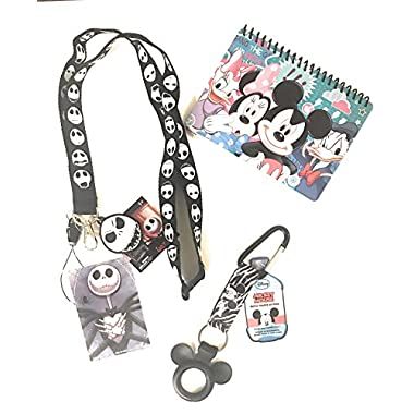 Disney Trip Bundle- Disney Jack Skellington Lanyard, Mickey Autograph Book and Mickey Bottle Holder- Vacation Essentials and Accessories!