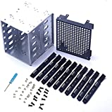 Stainless Steel Hard Drive Cage,5.25' to 5X 3.5 Rack SAS for Computer SATA HDD Cage Rack,Stainless Steel Cage Hard Drive Tray Rack with Fan Space