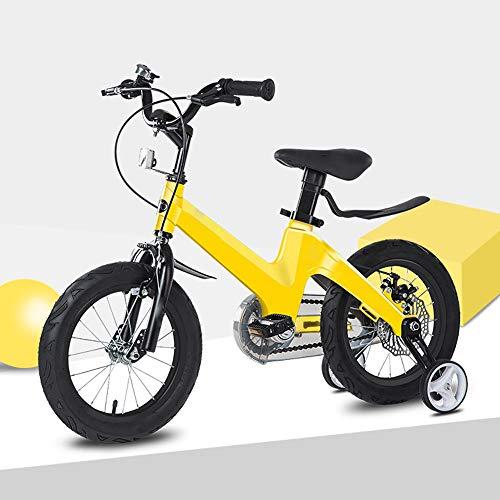 ZRZJBX Fahrrad FüR Kinder Kinderfahrrad 12 Zoll FüR MäDchen Und Jungen Ab 3-4 Jahre | Kinderrad Mountainbike | Fahrrad FüR Kinder Doppelscheibenbremse,Yellow-12