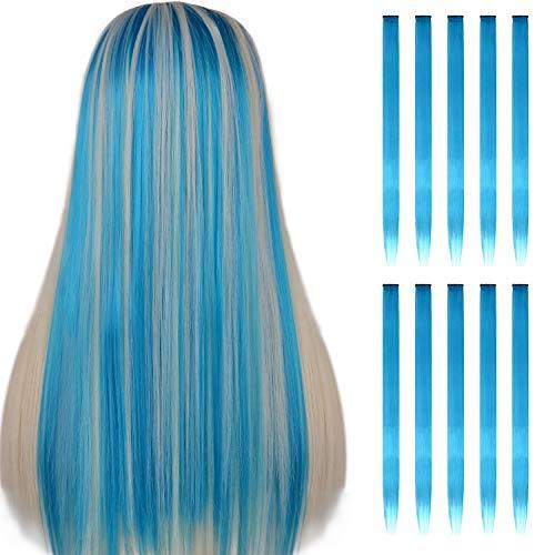 FESHFEN 10 Stück Himmelblau direkt clip haarverlängerungen haarsträhnen zum einklipsen für kinder grils 20 zentimeter lange haare, bunte party - highlights diy haar accessoires erweiterungen