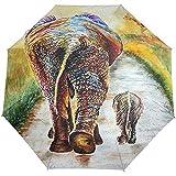 Merle House Regenschirm Elefanten Gemälde von Mutter und Kind Golf Travel Sun Rain Windproof Auto Sonnenschirme mit UV-Schutz für Mädchen Jungen Kinder