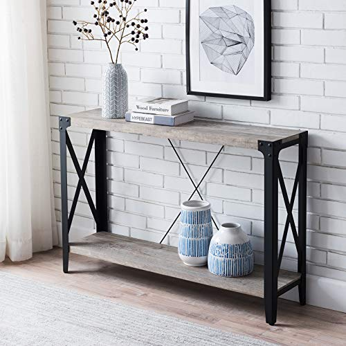 """OKD Console Tables for Entryway, Industrial Narrow Long Tables for Living Room, Entry Tables with X-Frame Steel Legs, 15 Mins Easy Assembly, 46"""" Hallway Table, Light Rustic Oak"""