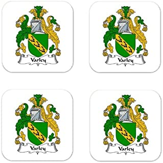 Varley Family Crest Square Coasters Coat of Arms Coasters - Set of 4