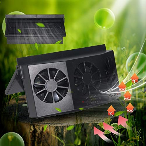 Newest USB Solar Powered Car Ventilator, Solar Powered Car Exhaust Fan, Car Radiator,Eliminate The Peculiar Smell Inside The Car and Can Be Used for General Types of Cars(Deep Black)
