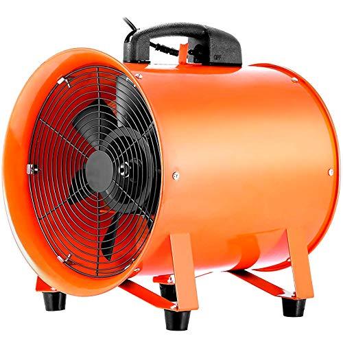 HuSuper Extractor Industrial Portátil 250 mm Extractor Axial 220 V Ventiladores de Piso Industrial con Motor 320 W Eléctrico Ventilador Profesional para Construcción con2 m Cable
