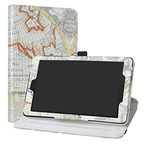 Alcatel 3T 8 Rotating Case,LiuShan 360 Degree Rotation Stand PU Leather with Cute Pattern Cover for T-Mobile Alcatel 3T 8 Inch 2018 Android Tablet,Map White