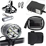 Constepor Super Bright Bicycle Light,5X T6 Cree Bicycle Lights (5 led,7000 Mah,3 Modes),Headlight, Head lamp with 6PCS 18650 Rechargeable Li-thium Batteries ;Including Keychain Flashlight,