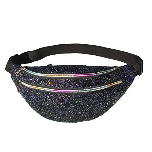 ICOSY Fanny Pack Black, Women Waist Pack Glitter Crossbody Bags Shiny Waist Pack Cute Fashion Fanny Packs Women Travel Waist Packs Girls Outdoor Shopping Sports Party Bags