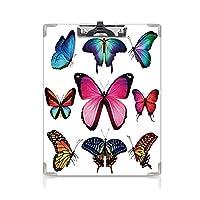 クリップボードメモ型サイズ低プロファイルクリップ 蝶 学生用かわいい画集 無地の背景にカラフルな蝶の異なるサイズのコレクション翼ホーム装飾マルチ