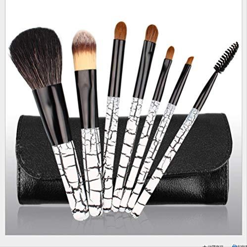 Set De Maquillage Brosse 7 Pièces Manche En Bois De Cheveux Animaux Maquillage Set Brosse Motif De Zèbre Brosse De Maquillage S-367 Gris Blanc