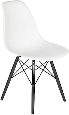 Stilnovo The Mid-Century Eiffel Dining Chair, White Top/Black Wood Base