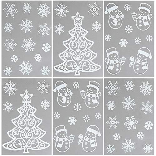 com-four® 58 Fensterbilder mit Glitzer in verschiedenen Winter und weihnachtlichen Motiven