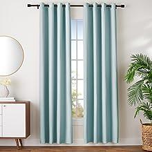 Amazon Basics - Juego de cortinas que no dejan pasar la luz, con ojales, 140 x 245 cm, Verde agua
