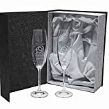 Set de 2 Copas de Cristal para champán - para Novios - Bodas de Plata/Oro - Aniversarios - talladas a Mano - colección Gastro-Grabado - grabación Personalizada.
