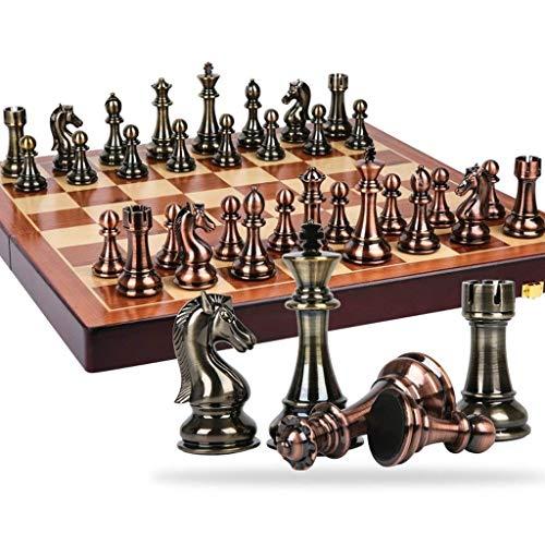 Cxcdxd Juego de Damas Clásico Aleación de Zinc Piezas de ajedrez Tablero de ajedrez de Madera Juego de ajedrez con Altura de Rey 11cm Juego al Aire Libre Juego de ajedrez