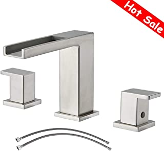 Waterfall Stainless Steel Two Handle Three Hole Widespread Bathroom Faucet, Brushed Nickel Bathroom Sink Faucet With Hoses