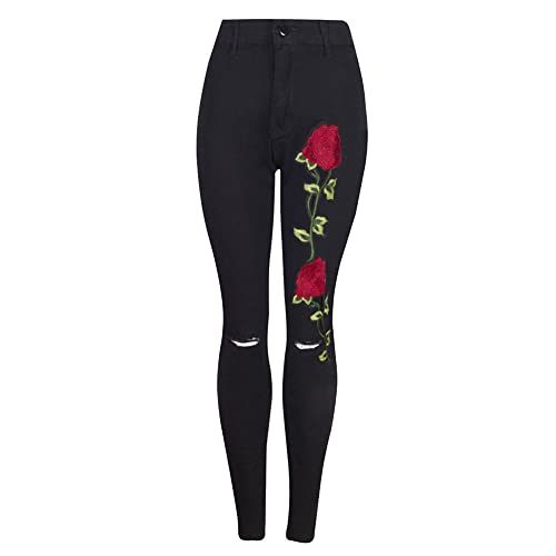a819a02c946d Nibesser Women Pencil Stretch Embroidered Floral High Waist Ripped Slim  Denim Jeans