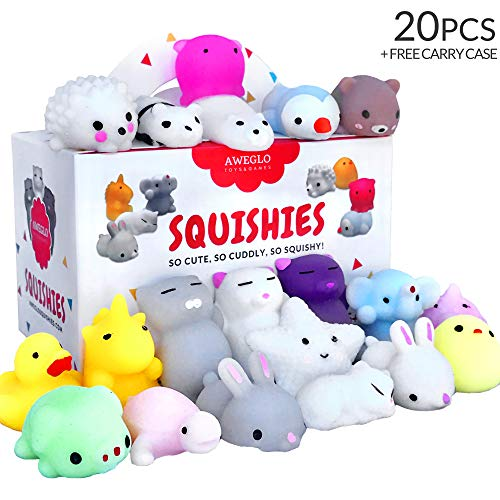 20 Squishy Toys Pack, Free CASE, 16 Animals, 11 Colors, AWEGLO Mochi Squishy Toys Party Favors for Kids, Mini Cat Squishies Kawaii Unicorn Panda Squishys, Not Slow Rise Jumbo Squishies or Cheap Stuff