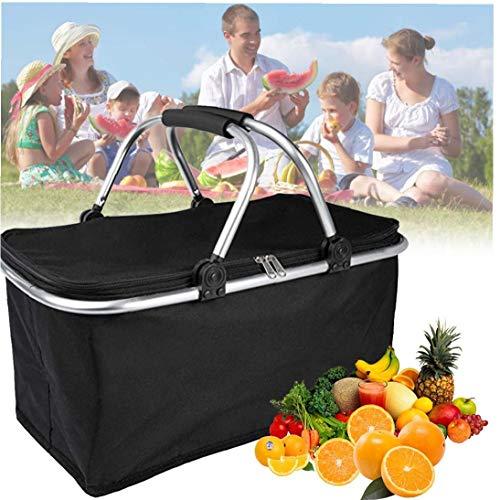 sjqc9561 Zusammenklappbar Wasserdicht Picknick-Beutel Große Insulated Picknick-Korb Cooler Tragbarer Market Basket Bag Set Für Picknick Reisen Shopping Camping (schwarz)