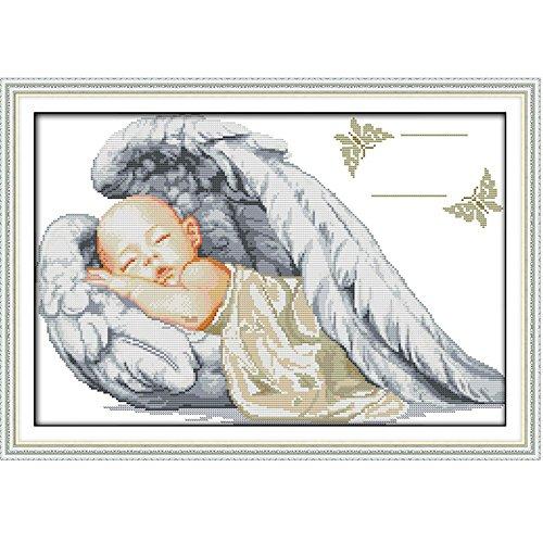 Anself Fai da te cucito a mano contato punto croce imposta Kit ricamo 14CT Little Angel Pattern ricamo 51 * 36cm decorazione domestica