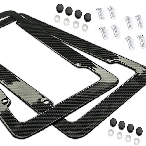 Carbon Fiber Style License Plate Frames Front & Rear 2pc Set With Fasteners and Screws glossy finish