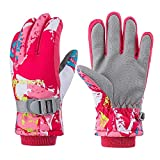 PROTAURI Guantes de esquí de invierno para niños: guantes impermeables antideslizantes térmicos a prueba de viento al aire libre, transpirables para niños y niñas para escalar, Rojo S