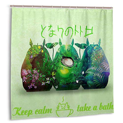 YOYICU Custom My Neighbor Totoro Shower Curtains, Japanese Anime Character 3D Print Waterproof Polyester Fabric with Color Bathroom Decor Fabric Curtains Sets with Hooks, 66 x 72 inch…
