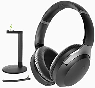Avantree Aria Podio Wireless Over Ear Headphones with Charging Dock Base, Bluetooth 5.0 ANC Headset Boom Microphone for Me...