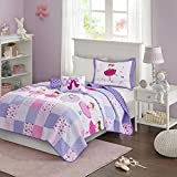 Mi Zone Kids Twirling Tutu Full/Queen Bedding For Girls Quilt Set - Purple Pink , Princess – 4 Piece Kids Girls Quilts – Ultra Soft Microfiber Quilt Sets Coverlet
