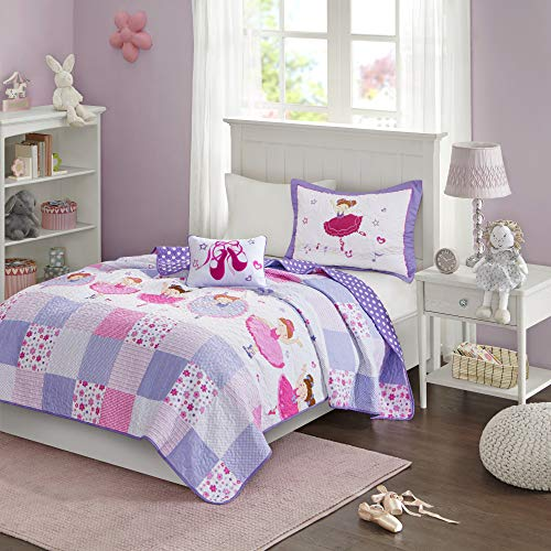 Mi Zone Kids Twirling Tutu Twin Bedding For Girls Quilt Set - Purple Pink , Princess – 3 Piece Kids Girls Quilts – Ultra Soft Microfiber Quilt Sets Coverlet
