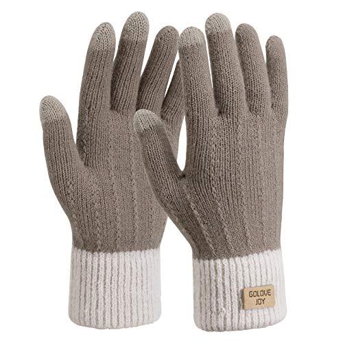 TAGVO Gants Hiver Chauds tricotés à écran Tactile pour Femmes,Tricotés Gants de Travail antidérapants en Polaire Chaude élastique pour Femmes,Gants d'hiver pour Le Ski Cyclisme Randonnée Conduite