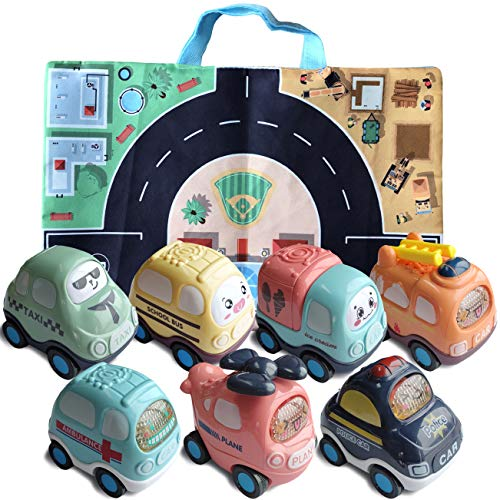 Toy Pull Back Cars 7 Pack  Car Toys for 3 4 5 6 7 Years Old Boys Girls Toddlers Kids Car Toys Set with Play Mat Storage Bag Christmas Birthday Gifts for Kids Party Favors