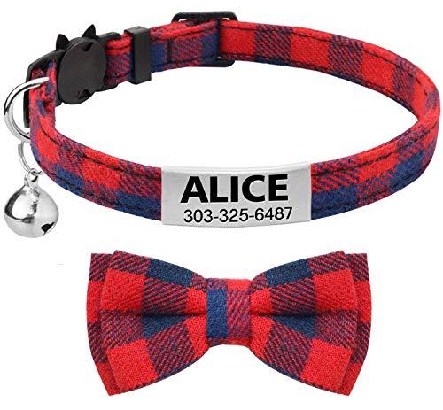 TagME Collar de Gato Personalizado, con Placa de Identificación Personalizable y Hebilla de Liberación Rápida Corbata de Moño Collar de Gato, 1 Paquete Rojo