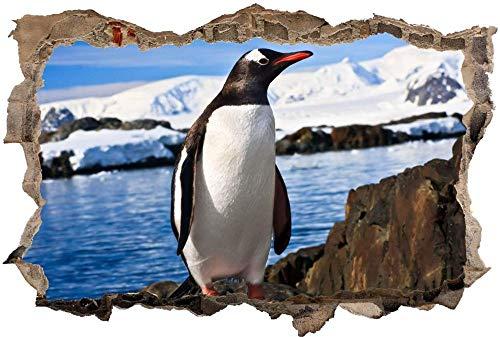 Tatuaje de pared en 3D agujero de la pared Sticker Pegatina Adhesivo Calcomanía Decoración para dormitorio o la sala de estar,Hielo ártico pingüino 50x75cm