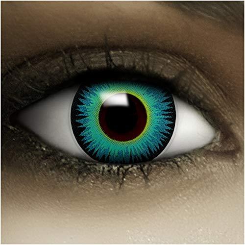 Farbige blaue Kontaktlinsen Seraphin + Kunstblut Kapseln + Behälter von FXCONTACTS®®, weich, ohne Stärke als 2er Pack - perfekt zu Halloween, Karneval, Fasching oder Fasnacht