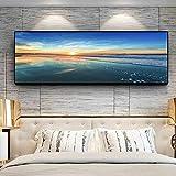 N / A Cielo Nubes Puesta de Sol mar Naturaleza Playa Panorama Pintura de Paisaje póster e Impresiones Lienzo Pared Sala Pintura sin Marco Pintura 63cmX168cm