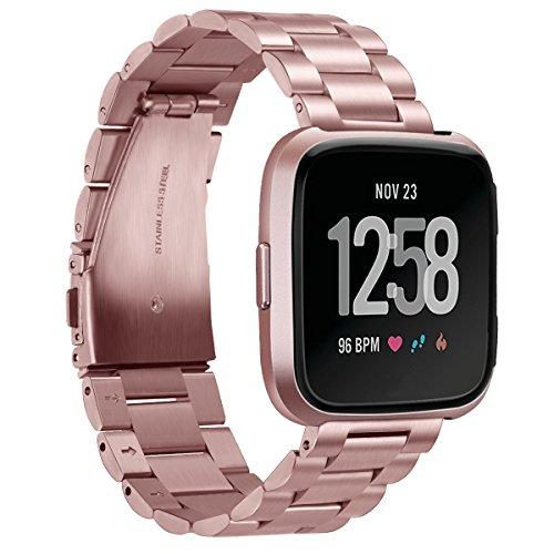 Aimtel Kompatibel mit Fitbit Versa 2 Armband/Fitbit Versa/Fitbit Versa Lite, Solid Edelstahl Metall Ersatz Armband Zubehör für Fitbit Versa 2/ Fitbit Versa/Fitbit Versa Lite Smartwatch(Rosa)